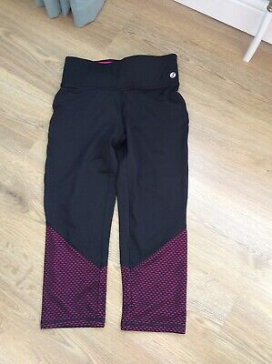 New Look Black/Pink Cropped Sports Leggings Size S