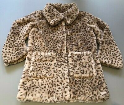 Mini Boden Girls Leopard Print Faux Fur Coat Age 5-6 Years BRAND NEW WITH TAGS!