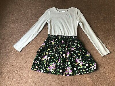 Next Girls Jersey Half Floral Black & Grey Ruffle Dress Age 9 Years