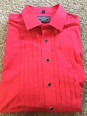 Greenwoods Classic Red Double Pleat Dress Shirt 18in