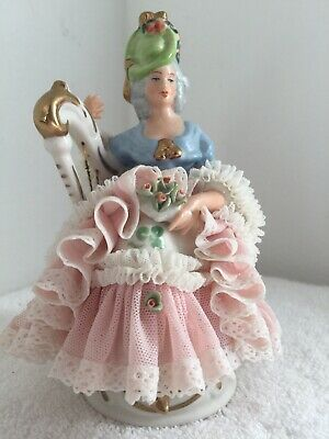 Vintage Dresden Porcelain Lace Figurine Woman Playing The Harp
