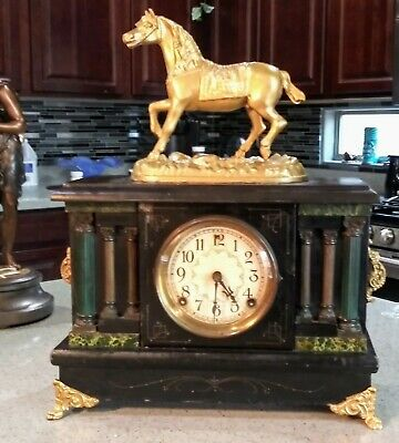 """Large Session's Black Mantle Clock with Gold gilded Horse 8 day clock 19"""" tall"""