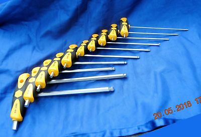 Wiha 10 Piece T-Handle Ball End Hex Wrench Set New Free Shipping