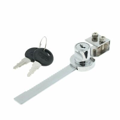 Chrome Plated Sliding Glass Door Ratchet Lock keyed bar for Cabinet Display UK
