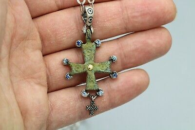 Byzantine Cross Gold & Silver Authentic Byzantine Period Cross Set In Silver #1
