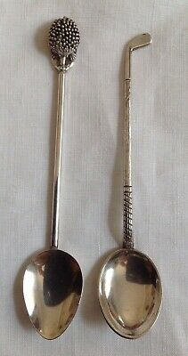 2 X Australian Sterling Silver Collectors Spoons- 1.Golf (F&R). 2.Hedgehog(Ince)