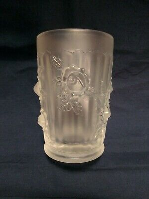 Fenton Art Glass Frosted Satin Cabbage Rose Pattern Tumbler
