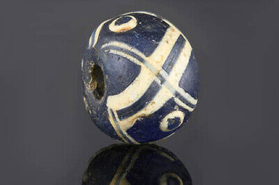 Genuine ancient Roman beads: mosaic glass bead with crosses, 1 century
