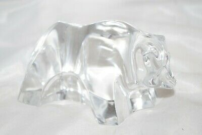 BACCARAT Paperweight - Clear Crystal - BEAR Figurine - Signed - France