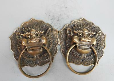Chinese Pure Brass Archaize Lion Head Door Rings Crafts Statue