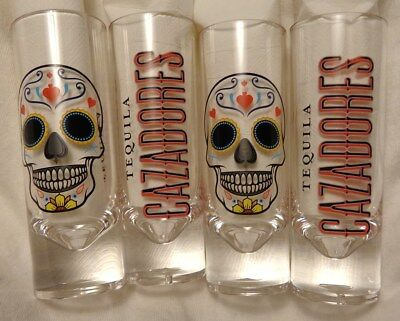 Cazadores Tequila - Set of 4 Plastic Shot Glasses - Colorful Skull Logos - NEW