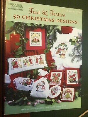 Leisure arts cross stitch pattern booklet called '50 Christmas Designs'