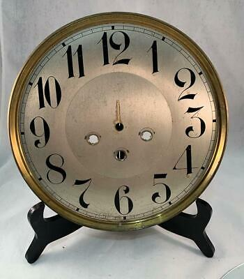 """Vtg Clock Face & Curved Glass Crystal 10"""" Gold Toned Face Black Numbers Parts !!"""