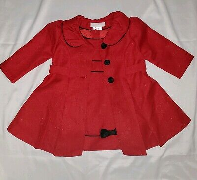 Bonnie Jean Baby Girl Red Dress & Coat Jacket Size 6-9M Holiday Dressy Bows