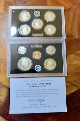 2017 SILVER PROOF Set US Mint 10 Coins Kennedy ATB Dime Penny w/ BOX COA