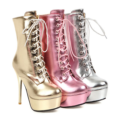 Womens Fashion Sexy Winter Round Toe Lace Up Slim High Heels Ankle Boots