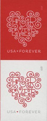 2015 49c Lacy Forever Hearts, Pair, Imperforate Scott 4955-56b Mint F/VF NH