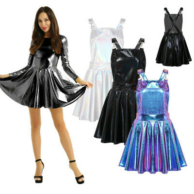 Womens Shiny Metallic Long Sleeves A-line Dress Ladies Party Mini Pleated Skirts