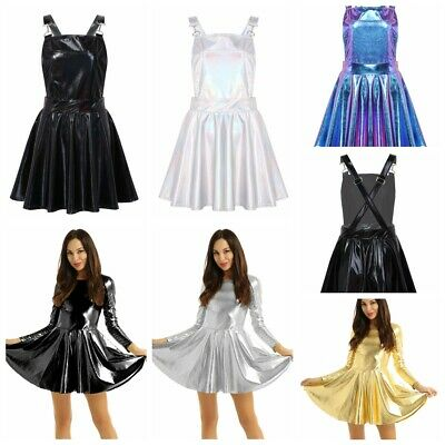 Women''s Shiny Metallic Night Party Club Mini Bodycon Dress Pleated A-line Skirt