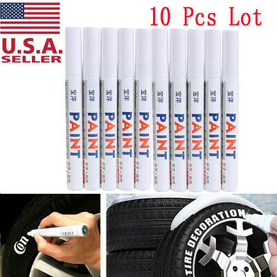 10x White Paint Pen Marker Waterproof Permanent Car Tire Lettering Rubber Letter