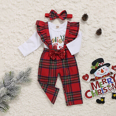 Newborn Baby Girl My 1st Christmas Tops Romper Bib Pants Cotton Outfits Clothes