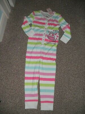 Girls  all in one  suit pink/green white BNWT 4- 5 years  stripes littlemoo