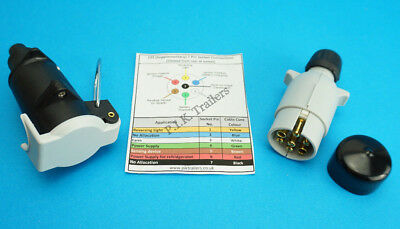 12S 7 Pin Flying Socket & Plug with Plug Cover for Caravan Extension Lead
