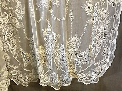"""Beautiful Floral Scallops Heritage Cream cotton lace curtain panel 58""""/83"""" Mend"""
