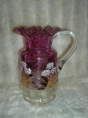 Antique Enameled Flower, Victorian, Amethyst to Clear Pitcher with Ruffled top