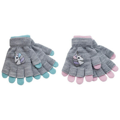 Girls 2 in1 Unicorn Gloves 2 Pack