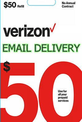 Brand New $50 50 Verizon Wireless Prepaid Refill Phone Card ( Email Delivery )