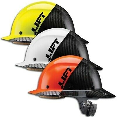 LIFT Safety DAX Carbon Fiber Hard Hat 50/50 Yellow white and Orange