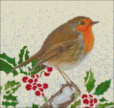 DoodleCraft - Counted Cross Stitch kit - Robin In Snow