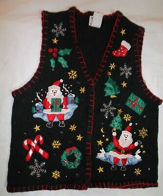 CHRISTMAS Santa VEST Large NOT ugly by Nutcracker L candy canes trees snowflakes