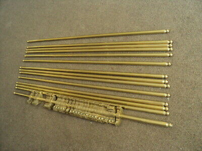 Set Of 14  Vintage Solid  Brass   Stair Rods And  Original  Brackets