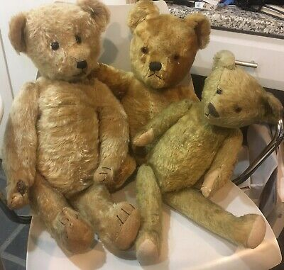 """Antique vintage 3 teddy bears jointed 23""""  humps grumpy"""