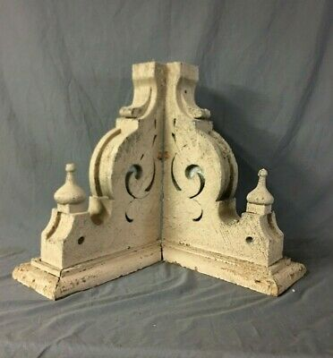 Pair Antique Roof Corbels Shelf Brackets 16x24 Shabby Vtg Chic Finials  66-19B