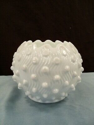 "Fenton White Milk Glass Hobnail Rose Bowl Vase 4"" Tall"