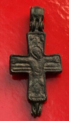 Genuine Byzantine bronze reliquary cross with figures of Christ on both sides, 7