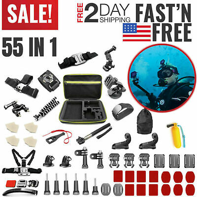GoPro Accessories Kit Hero 7 6 5 4 Session Black Outdoor Action Camera Mount Set