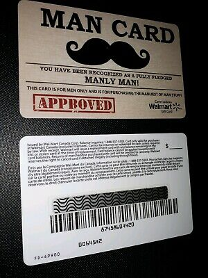 Walmart Gift Card Man Card Manly Man From Canada No $ Value