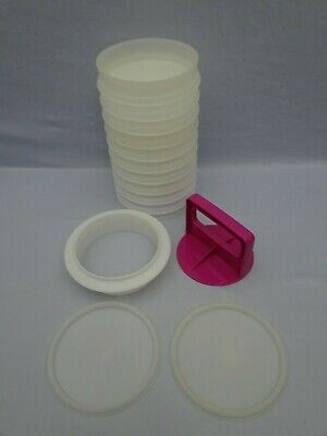 "TUPPERWARE 5"" Hamburger Patty Maker 15 Pieces Press Ring 11 Keepers 2 Lids"