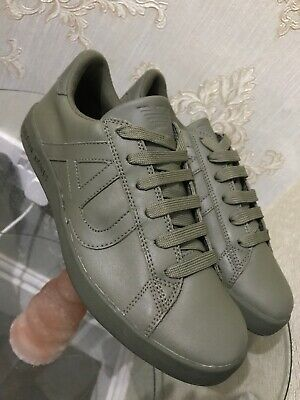 Armani Jeans  Sneaker  All Leather Military Green Round Toe Low 10.5 UK Grade B