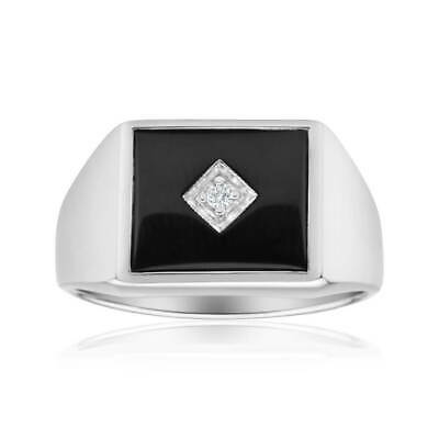 SHIELS Sterling Silver Cubic Zirconia + Onyx Classic Ring