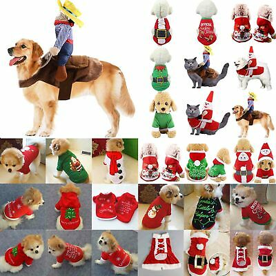 Pet Dog Cat Clothes Christmas Santa Sweater Puppy Shirt Pullover Hoodies Costume