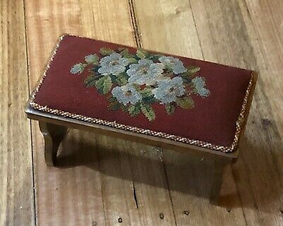 Antique Vintage Wooden & Embroidery Travelling Folding Foot Stool Footstool