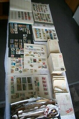 Mostly Australian Stamp Collection Albums Envelopes Loose Stamps Pages Full
