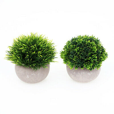 2-Pack Small Artificial Plants Potted Mini Faked Green Plants, Home Decoration