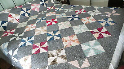 Antique QUILT TOP Pinwheel Pattern, Early 1900's Calico Fabric