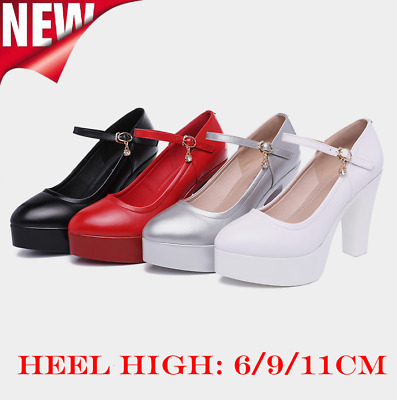 Women Cow Leather Pointed Toe Block High Chunky Heel Buckle Pumps Shoes 6/9/11cm
